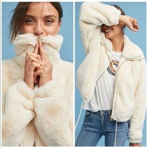 Anthropologie Elevenses Bristol Faux Fur Jacket /S